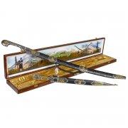 Кубачинский подарочный набор в футляре (шашка и кинжал с позолоченными вставками) арт.6827