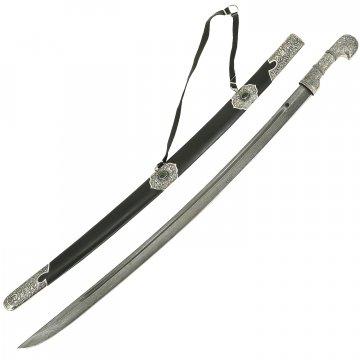 Кавказская шашка (дамасская сталь, ножны натуральная кожа, мельхиор)