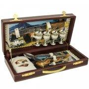 Кизлярский туристический набор для пикника в кожаном футляре арт.5752