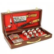 Кизлярский туристический набор для пикника в кожаном футляре арт.5755