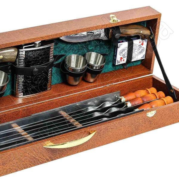 Кизлярский шашлычный набор в подарочном кейсе средний №3 (коричневый)