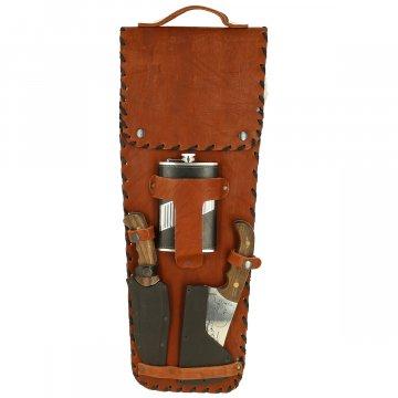 Кизлярский шашлычный набор в кожаном чехле