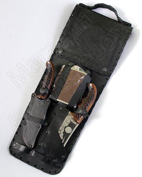 Кизлярский шашлычный набор в кожаном чехле №3