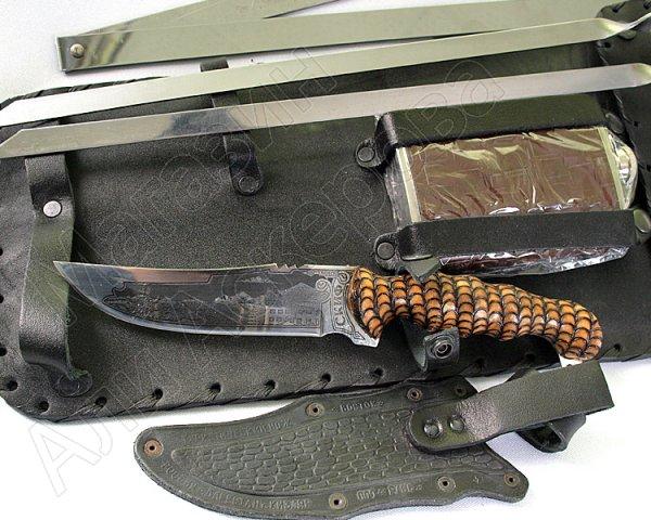 Кизлярский шашлычный набор в кожаном чехле №1