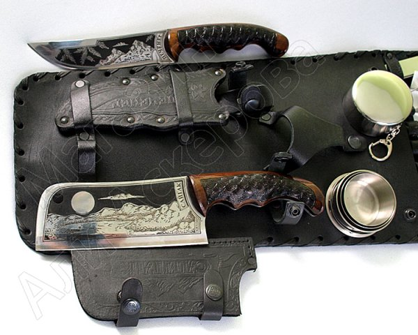 Кизлярский шашлычный набор в кожаном чехле №2