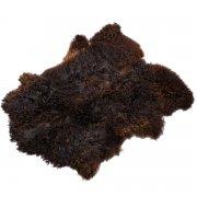 Натуральная козья шкура (цвет - темно-коричневый, длинный ворс, ручная выделка) арт.6052