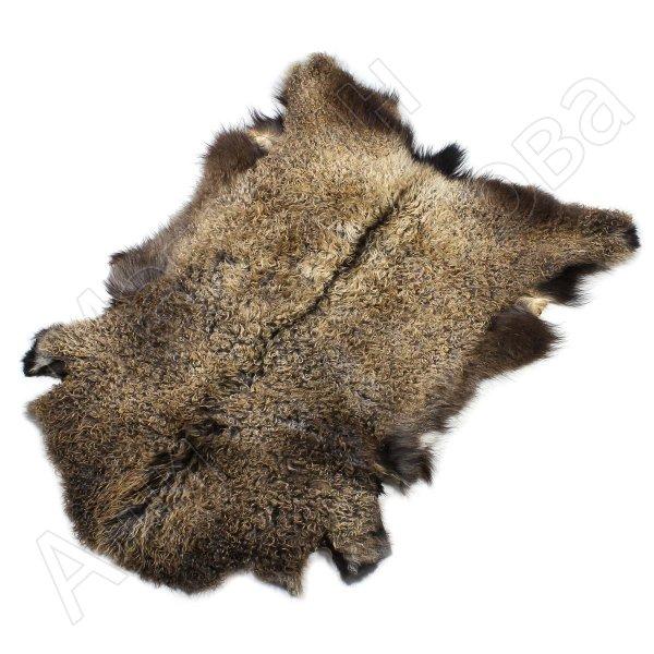 Натуральная козья шкура (цвет - бурый, длинный ворс, ручная выделка)