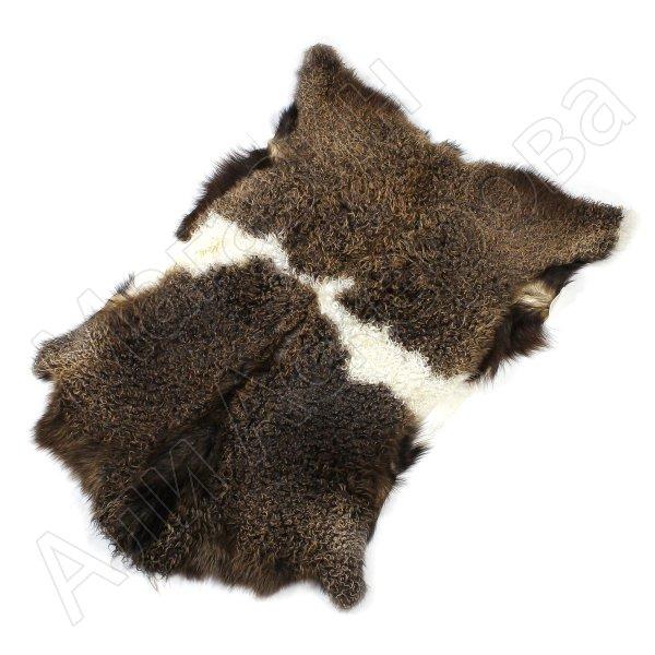 Натуральная козья шкура (цвет - бурый, белый, длинный ворс, ручная выделка)