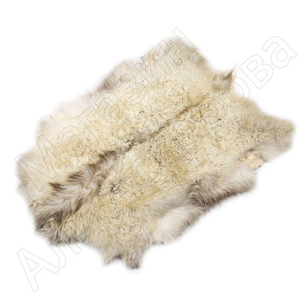 Натуральная козья шкура (цвет - бело-бежевый, длинный ворс, ручная выделка)