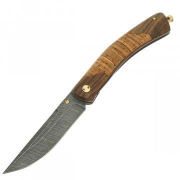 Складной нож Кайрос (дамасская сталь, рукоять береста, орех)