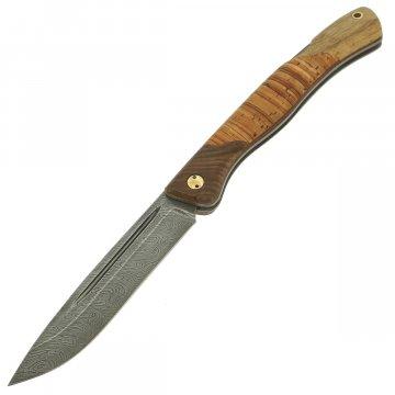 Складной нож Лесничий (дамасская сталь, рукоять береста)