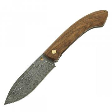 Складной нож Нерпа (дамасская сталь, рукоять орех)