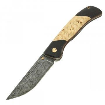 Складной нож Валдай (дамасская сталь, рукоять черный граб, карельская береза)