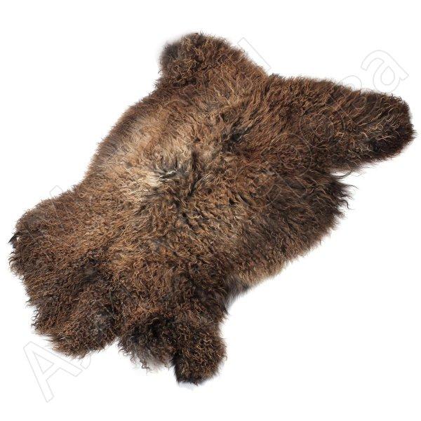 Натуральная козья шкура (цвет - коричнево-бурый, длинный ворс, ручная выделка)