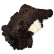 Натуральная козья шкура (цвет - коричнево-белый, длинный ворс, ручная выделка) арт.5027