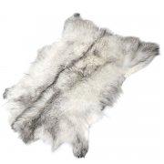 Натуральная козья шкура (цвет - бело-серый, короткий ворс, ручная выделка) арт.5032