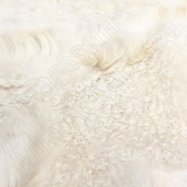 Натуральная козья шкура (цвет - белый, короткий ворс, ручная выделка)