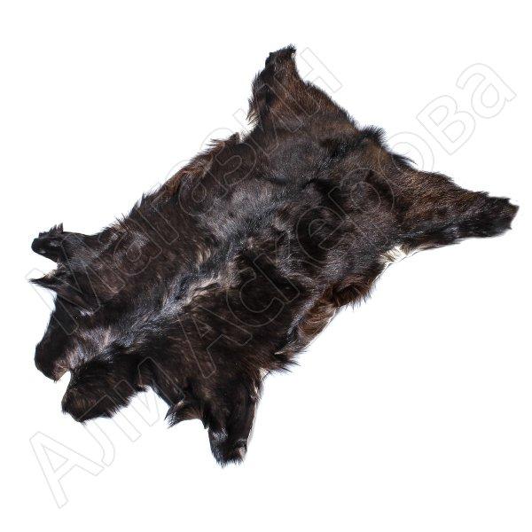 Натуральная козья шкура (цвет - темно-коричневый, короткий ворс, ручная выделка)