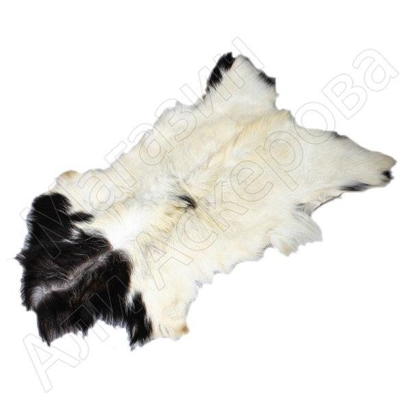 Натуральная козья шкура (цвет - бело-черный, длинный ворс, ручная выделка)