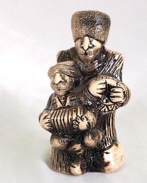 """Подарочная статуэтка ручной работы """"Кавказские музыканты"""" обожженная глина"""