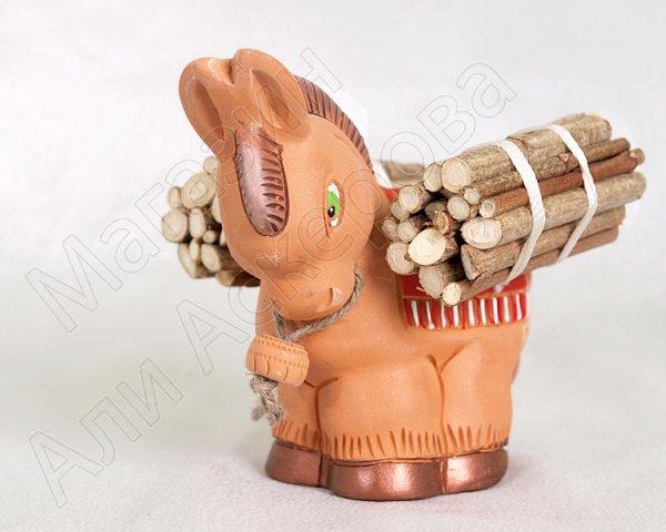 """Подарочная статуэтка ручной работы """"Горный ослик"""" обожженная глина"""