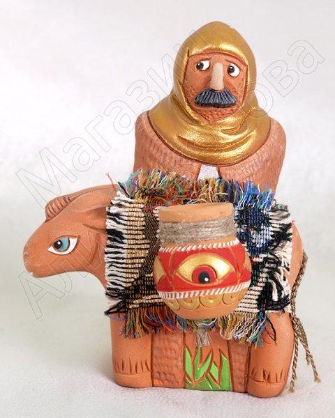 """Подарочная статуэтка ручной работы """"Купец на коне!"""" обожженная глина"""