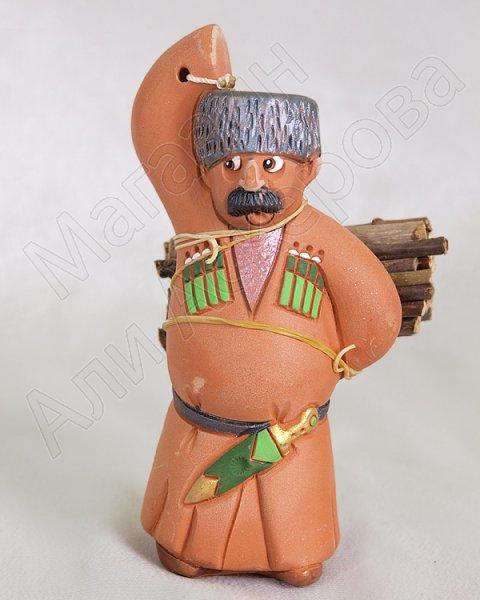 """Подарочная статуэтка ручной работы """"Мужчина с дровами"""" №2 обожженная глина"""