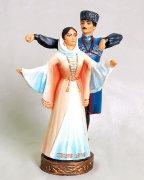 """Подарочная статуэтка ручной работы """"Джигит и горянка в танце"""" №3 обожженная глина"""