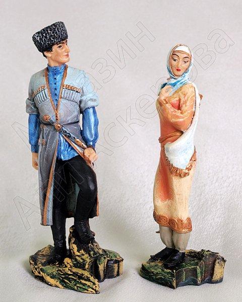 """Подарочная статуэтка-композиция ручной работы """"Любовная встреча"""" обожженная глина"""