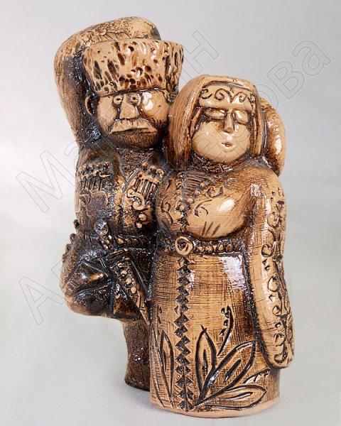 """Подарочная статуэтка ручной работы """"Танцующая пара"""" обожженная глина"""