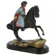 """Подарочная статуэтка ручной работы """"Горец на коне"""" (обожженная глина)"""