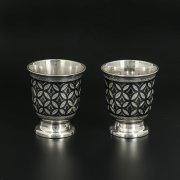Серебряные стопки Кубачи ручной работы (2 персоны) арт.9803