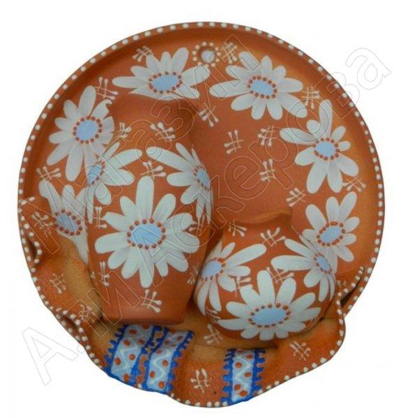 """Сувенирная глиняная тарелочка ручной работы """"Два кувшина"""""""
