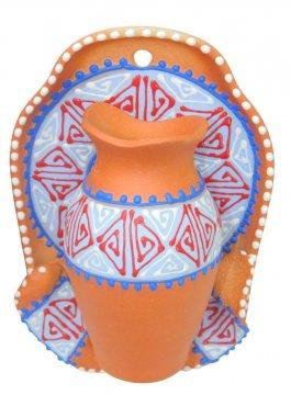 """Сувенирная глиняная тарелочка ручной работы """"Кувшин"""" коричневая"""
