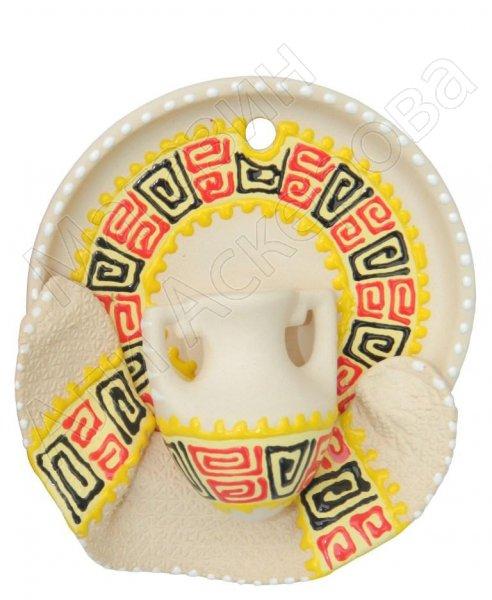 """Сувенирная глиняная тарелочка ручной работы """"Кувшинчик"""" желтая"""