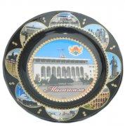 """Сувенирная керамическая тарелочка цветная """"Махачкала"""" черная"""