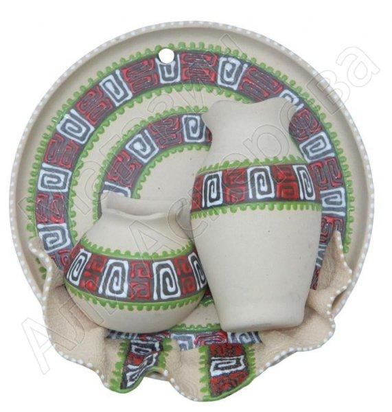 """Сувенирная глиняная тарелочка ручной работы """"Два кувшина"""" белая"""