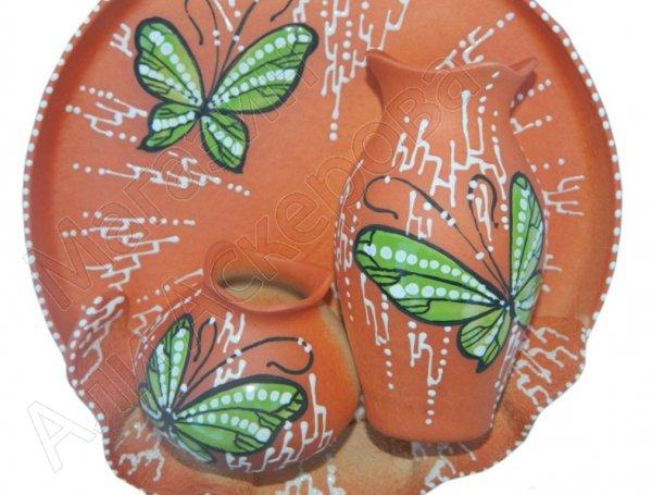 """Сувенирная глиняная тарелочка ручной работы """"Два кувшина с бабочкой"""""""