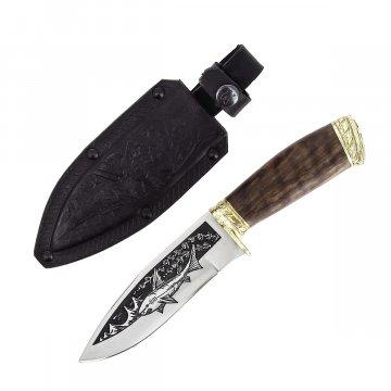 """Кизлярский нож туристический """"Акула-2"""" (сталь - AUS-8, рукоять - дерево, худ. оформ.)"""