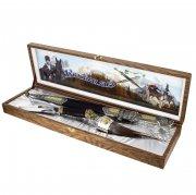 Кубачинский подарочный набор №14: кинжал с позолоченными вставками, кизлярский нож и рог