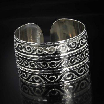 Серебряный кубачинский браслет комбинированный №33