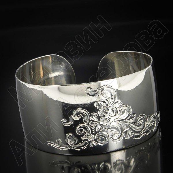 Серебряный кубачинский браслет белый №69