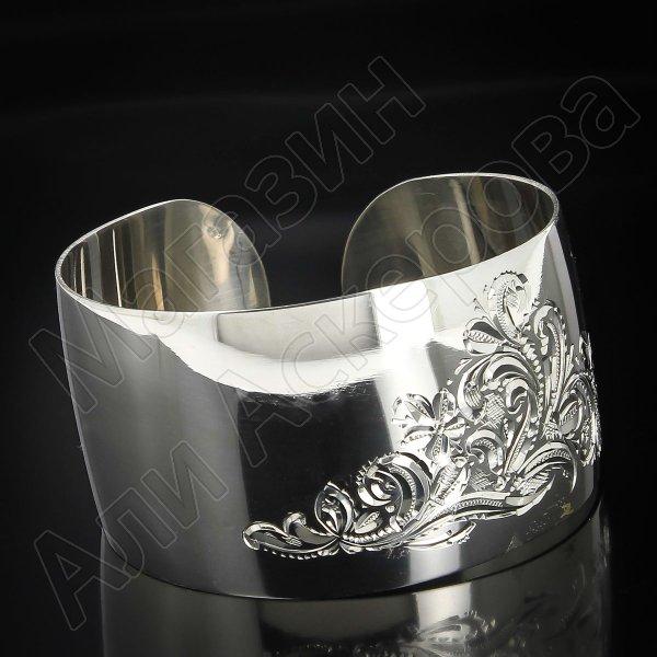 Серебряный кубачинский браслет белый №70