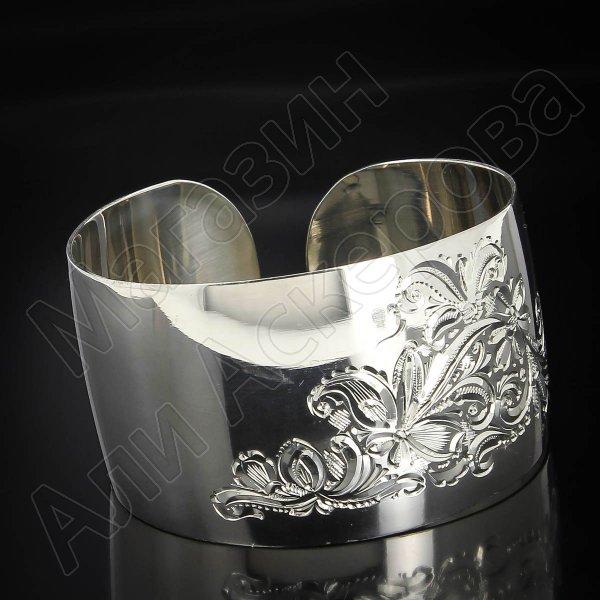 Серебряный кубачинский браслет белый №72