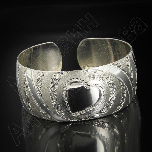 Серебряный кубачинский браслет белый №73