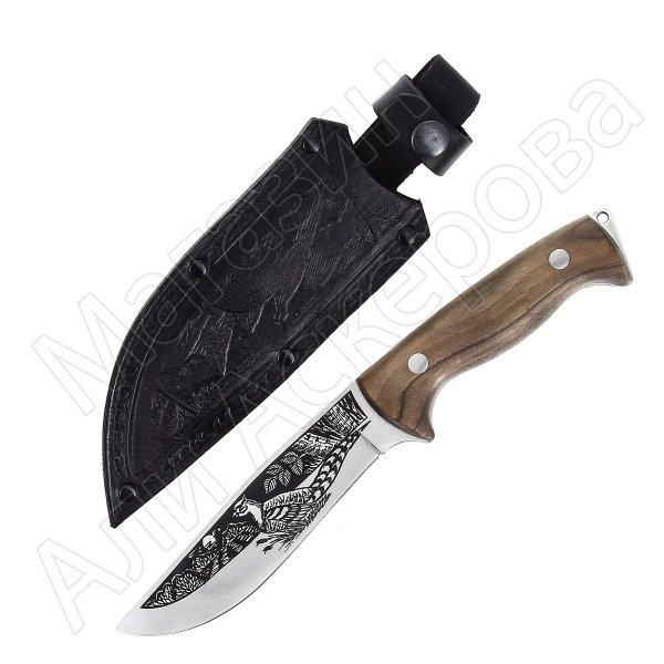 Кизлярский нож туристический Фазан (сталь AUS-8, рукоять орех, худ. оформ)