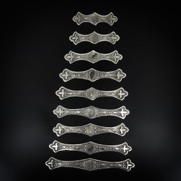 Нагрудники мельхиоровые ручной работы на женский костюм мастера Магомеда Идрисова (9 элементов)