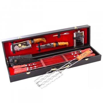 Кизлярский шашлычный набор в подарочном кейсе (черный)