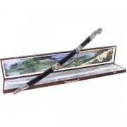 Кубачинский подарочный набор в футляре (утопленная шашка с позолоченными вставками) арт.4148