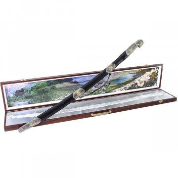 Кубачинский подарочный набор в футляре (утопленная шашка с позолоченными вставками)